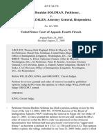 Omima Ibrahim Soliman v. Alberto R. Gonzales, Attorney General, 419 F.3d 276, 4th Cir. (2005)