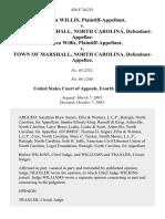 Rebecca Willis v. Town of Marshall, North Carolina, Rebecca Willis v. Town of Marshall, North Carolina, 426 F.3d 251, 4th Cir. (2005)