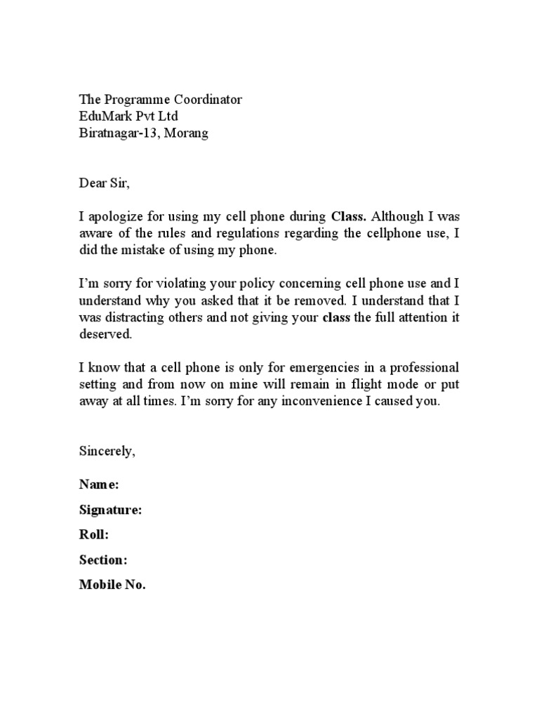 Apology Letter For Cell Phone Use