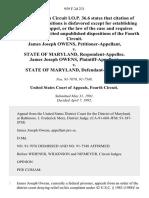 James Joseph Owens v. State of Maryland, James Joseph Owens v. State of Maryland, 959 F.2d 231, 4th Cir. (1992)