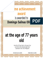 Olivares Grand Reunion Certificate With Picture Salinas