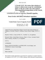 United States v. Dean Erskin Archer, 956 F.2d 1163, 4th Cir. (1992)