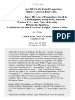Dennis Wayne Cochran, United States of America, Intervenor v. E.C. Morris, Deputy Director of Corrections David K. Smith, Warden, Buckingham Bobby Soles, Assistant Warden C.N. Lewis, Chief of Security, Coalition for the Free Exercise of Religion, Amicus Curiae, 73 F.3d 1310, 4th Cir. (1996)