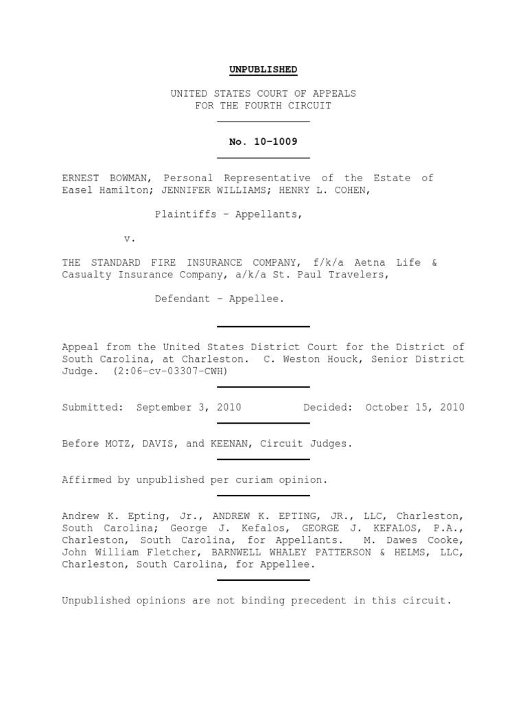 Bowman v. The Standard Fire Insurance Co., 4th Cir. (2010 ...