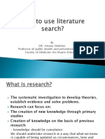 How to Use Literature Search by Dr Amany Mokhtar