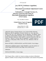 Flint Gregory Hunt v. Eugene M. Nuth, Maryland Correctional Adjustment Center and Maryland Penitentiary J. Joseph Curran, Jr., Attorney General of the State of Maryland, (Two Cases), 57 F.3d 1327, 4th Cir. (1995)