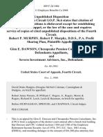 Robert P. Murphy, Robert P. Murphy, D.D.S., P.A. Profit Sharing Plan v. Glen E. Dawson, Chesapeake Pension Consultants, Inc., and Severn Investment Advisors, Inc., 889 F.2d 1084, 4th Cir. (1989)