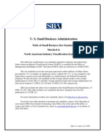 US Small Business Administration Table of Small Business Size Standards
