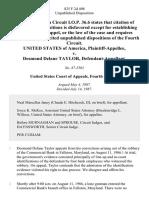 United States v. Desmond Delane Taylor, 825 F.2d 408, 4th Cir. (1987)