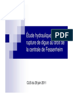 Étude hydraulique en cas de rupture de digue au droit de la centrale de Fessenheim