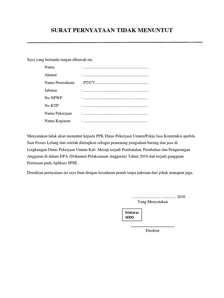 contoh Surat Pernyataan Tidak Menuntut