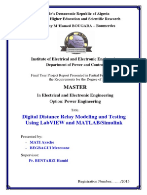 Digital Distance Relay Modeling and Testing Using LabVIEW
