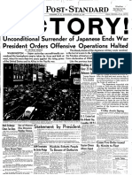 Victory over Japan Post Standard, August 15, 1945