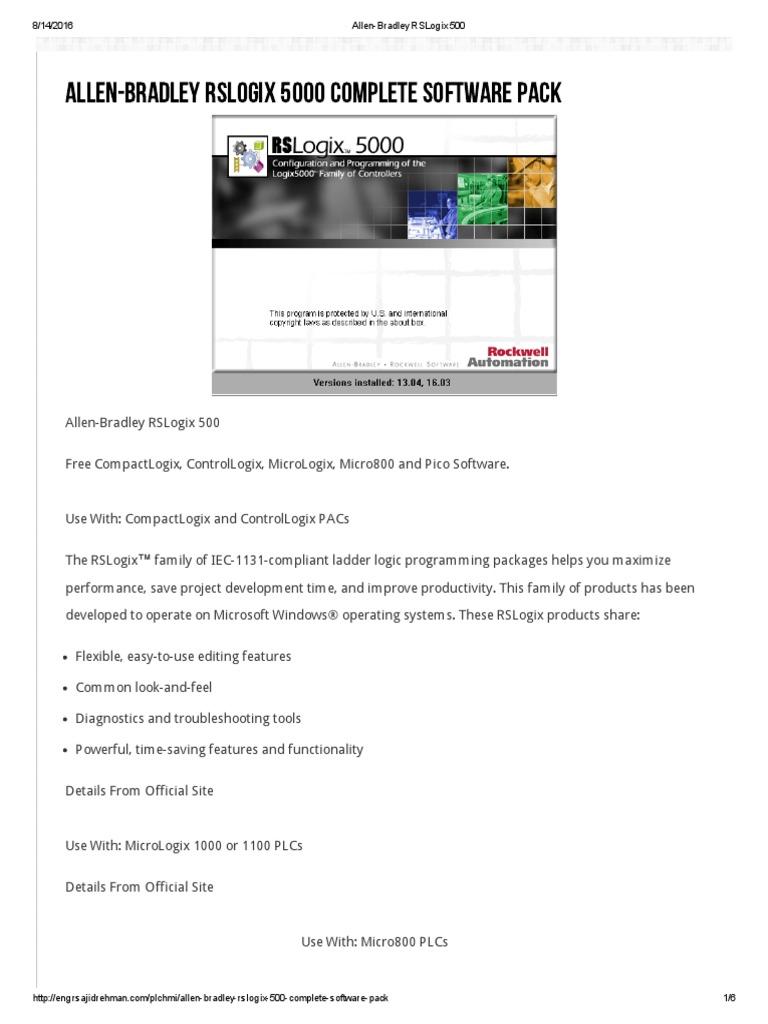 Allen-Bradley RSLogix 500 pdf | Programmable Logic