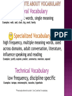 special note about vocabulary