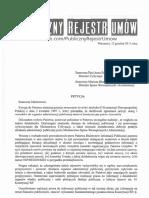 Petycja Dotycząca Rejestrów Umów