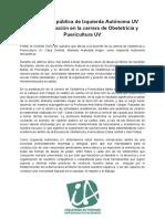Declaración Pública Izquierda Autónoma UV Sobre La Situación de La Carrera de Obstetricia y Puericultura (1)