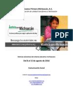 Noticias del Sistema Educativo Michoacano al 15.08.2016