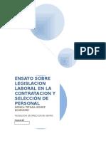 ENSAYO SOBRE LEGISLACION LABORAL EN LA CONTRATACION Y SELECCIÓN DE PERSONAL.docx