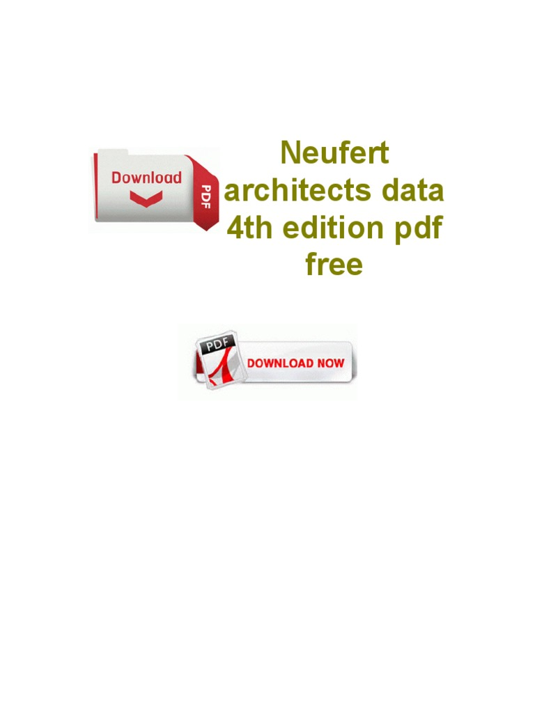 Neufert Architects Data 4th Edition PDF Free