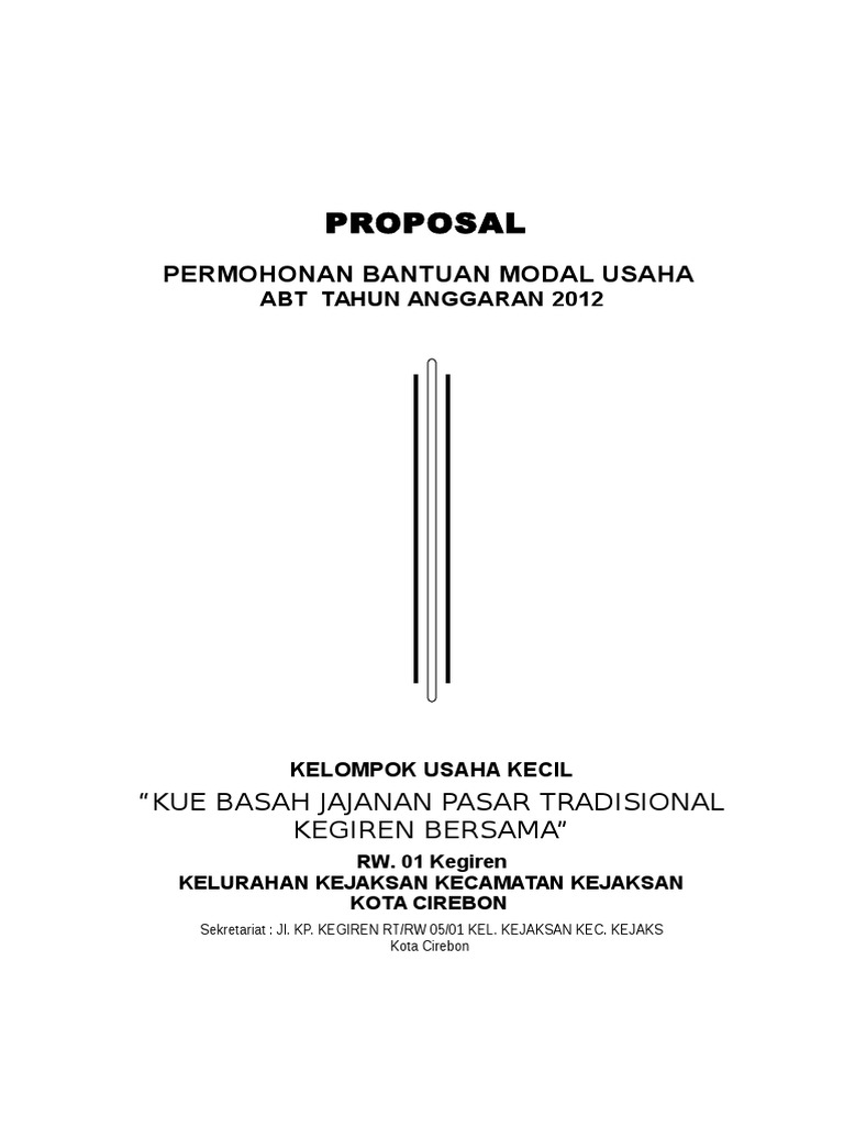 152869179 Contoh Proposal Permohonan Bantuan Modal Usaha Doc