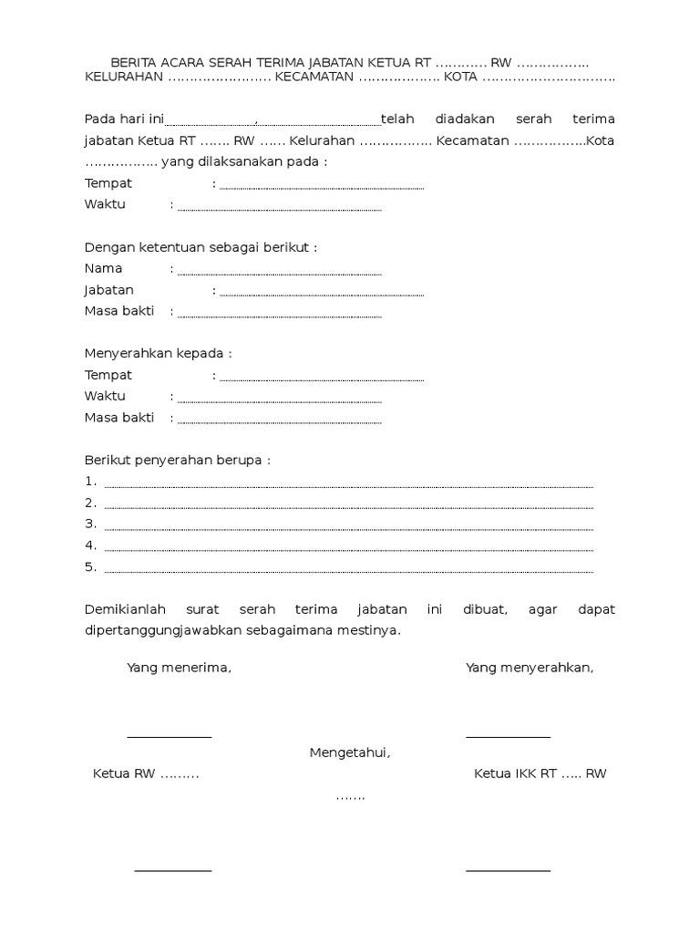 By B Hints Contoh Berita Acara Serah Terima Jabatan Ketua Rt