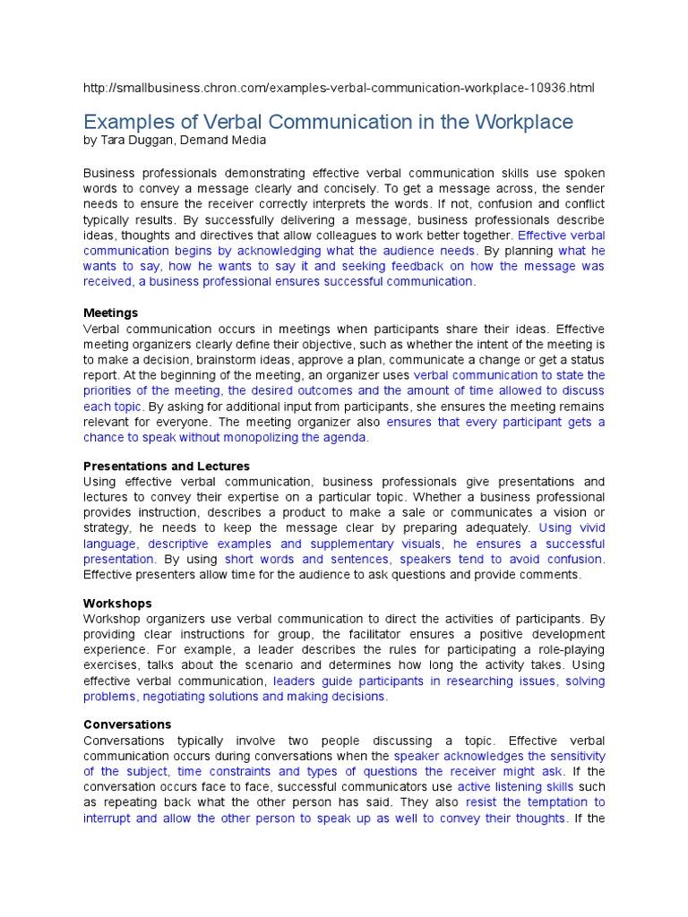 Verbal Communication Workplace docx | Linguistics | Action