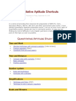 Quantitative Aptitude Shortcuts