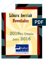2016ko uztaileko liburu berriak -- Novedades de julio del 2016