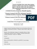 United States v. Winston Leonard Collins, United States of America v. Winston Leonard Collins, 91 F.3d 135, 4th Cir. (1996)