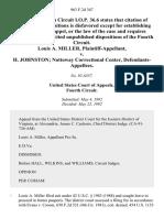 Louis A. Miller v. H. Johnston Nottoway Correctional Center, 963 F.2d 367, 4th Cir. (1992)