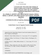 In Re Bobby G. Queen, D/B/A Black Darth Company, Debtor. Bobby G. Queen, D/B/A Black Darth Coal Company v. United States, 16 F.3d 411, 4th Cir. (1994)