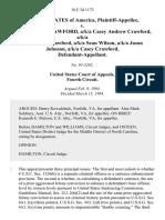 United States v. Casy Andrew Crawford, A/K/A Casey Andrew Crawford, A/K/A Andrew C. Crawford, A/K/A Sean Wilson, A/K/A Jason Johnson, A/K/A Casey Crawford, 18 F.3d 1173, 4th Cir. (1994)