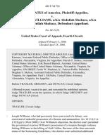 United States v. Joseph Edmund Williams, A/K/A Abdullah Shabazz, A/K/A Taharqa Abdullah Shabazz, 445 F.3d 724, 4th Cir. (2006)