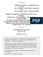 City of Alexandria, Virginia, a Municipal Corp., the City Council of Alexandria, Virginia, a Body Politic, and Board of Supervisors of Fairfax County, Virginia v. Federal Highway Administration Ray A. Barnhart, Administrator, Federal Highway Administration Commonwealth of Virginia Virginia Department of Highways and Transportation Harold C. King, Commissioner, Va. Dept. Of Highways and Elizabeth Hanford Dole, Secretary of Transportation, U.S., 756 F.2d 1014, 4th Cir. (1985)