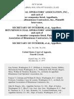 Bituminous Coal Operators' Association, Inc., and Each of Its Member Companies Listed, Association of Bituminous Contractors, Inc., Plaintiff-Intervenor v. Secretary of Interior, Bituminous Coal Operators' Association, Inc., and Each of Its Member Companies Listed, Association of Bituminous Contractors, Inc. v. Secretary of Interior, 547 F.2d 240, 4th Cir. (1977)