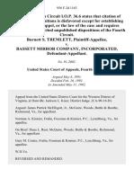 Burnett S. Tremlett v. Bassett Mirror Company, Incorporated, 956 F.2d 1163, 4th Cir. (1992)