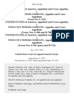United States of America, and Cross-Appellee v. Twin City Power Company, and Cross-Appellant. (Tract No. C-215). United States of America, and Cross-Appellee v. Twin City Power Company, and Cross-Appellant. (Tracts Nos. F-500 and H-700). United States of America, and Cross-Appellee v. Twin City Power Company, and Cross-Appellant. (Tracts Nos. F-541 (Part) and H-732), 248 F.2d 108, 4th Cir. (1957)