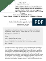 In Re Owen Wilson, Debtor. Owen Wilson, Debtors No. 89-5-0160-Js, 907 F.2d 1141, 4th Cir. (1990)