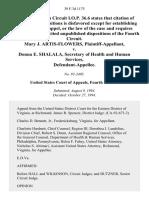 Mary J. Artis-Flowers v. Donna E. Shalala, Secretary of Health and Human Services, 39 F.3d 1175, 4th Cir. (1994)