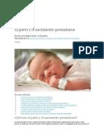 El Parto y El Nacimiento Prematuros