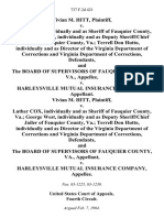 Vivian M. Hitt v. Luther Cox, Individually and as Sheriff of Fauquier County, Va. George West, Individually and as Deputy Sheriff/chief Jailer of Fauquier County, Va. Terrell Don Hutto, Individually and as Director of the Virginia Department of Corrections and Virginia Department of Corrections, and the Board of Supervisors of Fauquier County, Va. v. Harleysville Mutual Insurance Company, Vivian M. Hitt v. Luther Cox, Individually and as Sheriff of Fauquier County, Va. George West, Individually and as Deputy Sheriff/chief Jailer of Fauquier County, Va. Terrell Don Hutto, Individually and as Director of the Virginia Department of Corrections and Virginia Department of Corrections, and the Board of Supervisors of Fauquier County, Va. v. Harleysville Mutual Insurance Company, 737 F.2d 421, 4th Cir. (1984)
