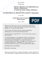 The State of North Carolina, Environmental Policy Institute, and Conservation Council of North Carolina v. Environmental Protection Agency, 881 F.2d 1250, 4th Cir. (1989)