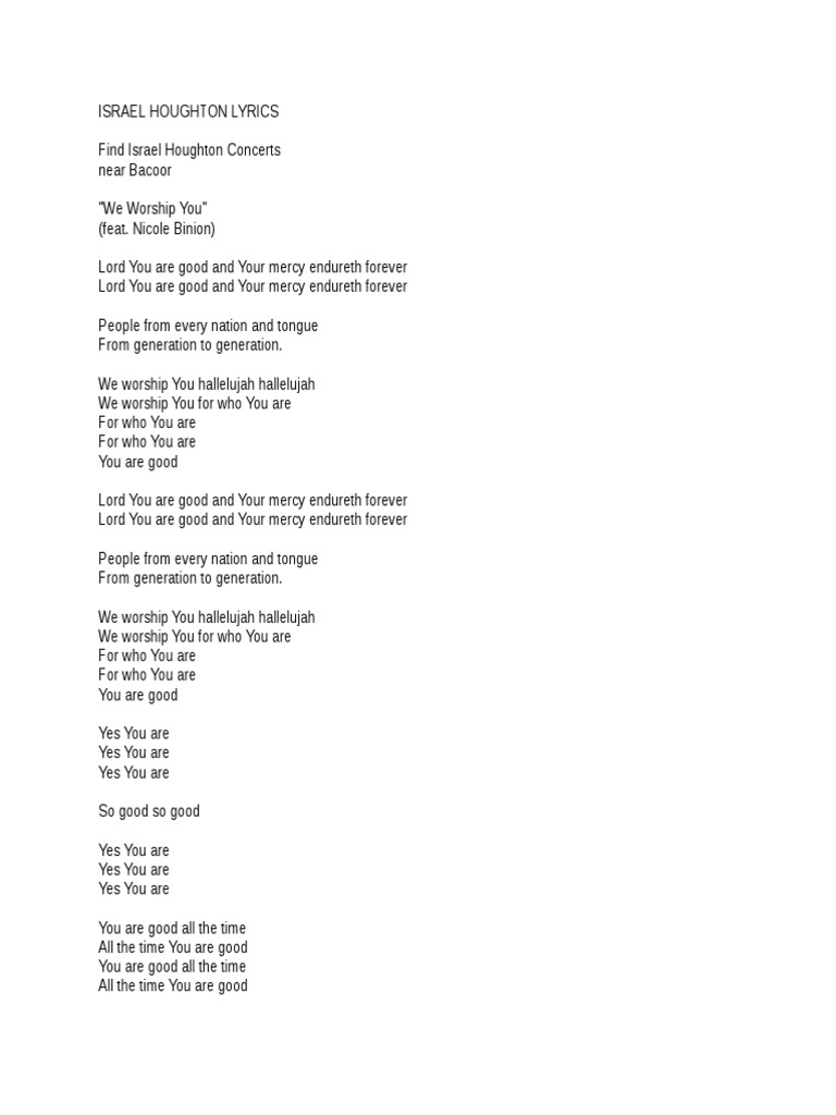 You Are Good All The Time Lyrics