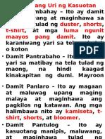 Iba't – Ibang Uri Ng Kasuotan