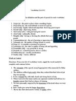 vocabulary list 10 1