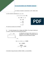 Problemas de Ecuaciones de Primer Grado.