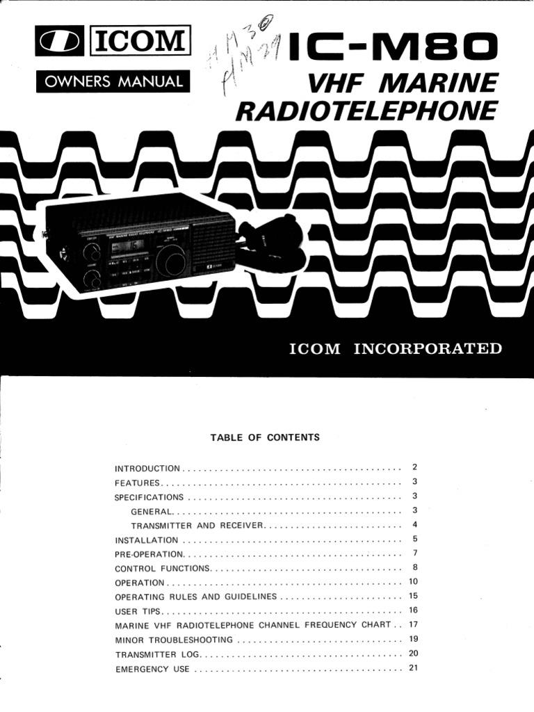 Icom IC-M80 Marine Radiotelephone WW