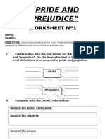 Pride and Prejudice worksheet
