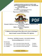 L'influence du barrage de Draa Diss sur les réserves hydriques dans le bassin versant d'El Eulma (NE Algérien)